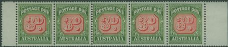 Postage Due SG D134 3d Carmine and deep Green strip of 5 s (AD1/11)